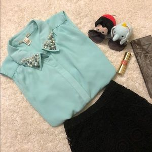 Mint Blue Blouse with Pearl Details Collar